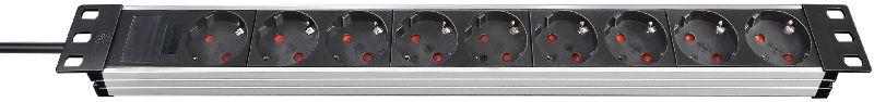 """Alu-Line 19"""" Steckdosenleiste für Schaltschränke 9-fach alu/schwarz 2m H05VV-F 3G1,5 ohne Schalter"""