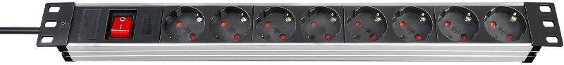 """Alu-Line 19"""" Steckdosenleiste f�r Schaltschr�nke 8-fach alu/schwarz 2m H05VV-F 3G1,5 mit Schalter"""
