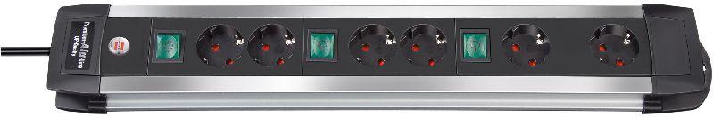 Premium-Alu-Line Technik Steckdosenleiste 6-fach 3m H05VV-F 3G1,5 2-fach schaltbare Steckdosen