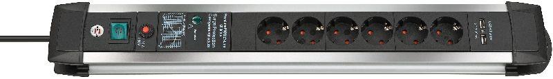 Premium-Protect-Line 60.000A �berspannungsschutz-Steckdosenleiste mit USB-Ladefunktion 6-fach 3m H05VV-F 3G1,5