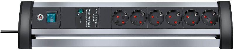 Alu-Office-Line 60.000A Überspannungsschutz-Steckdosenleiste 6-fach 3m H05VV-F 3G1,5