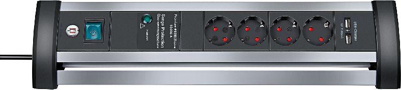 Alu-Office-Line 60.000A �berspannungsschutz-Steckdosenleiste mit USB-Ladefunktion 4-fach 1,8m H05VV-F 3G1,5