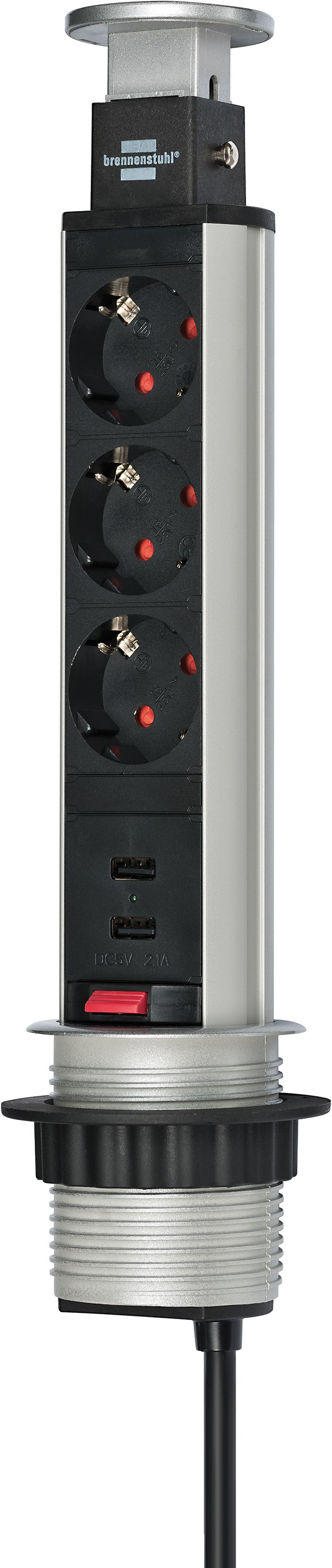 Tower Power USB-Charger Tischsteckdosenleiste 3-fach mit 2 USB Ladebuchsen 2m H05VV-F 3G1,5, in Tischplatte versenkbar