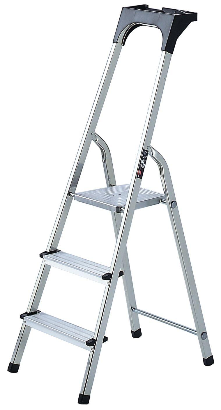 Haushaltsleiter Aluminium mit Arbeitsschale 3 Stufen Plattformhöhe 0,6m