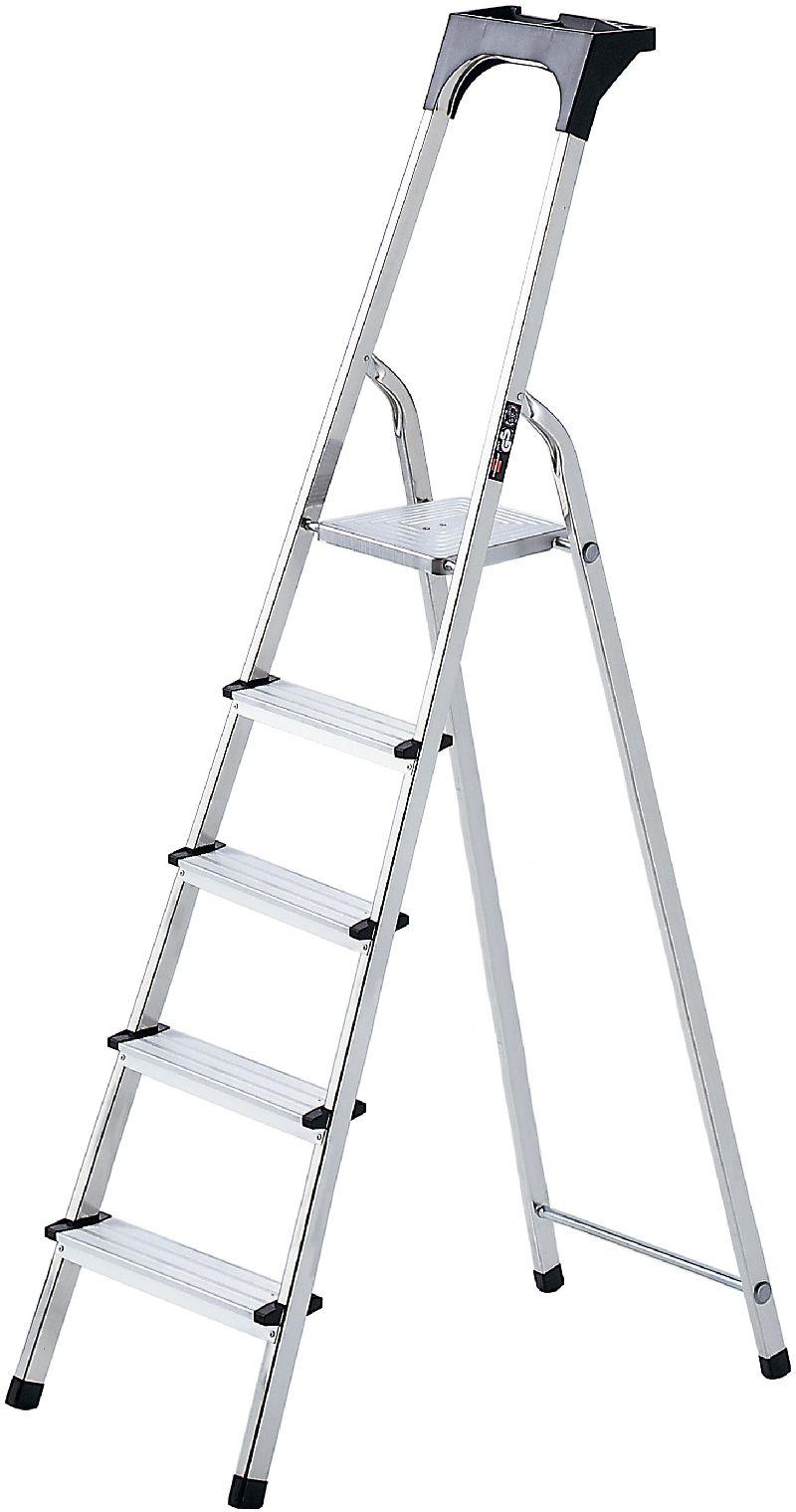 Haushaltsleiter Aluminium mit Arbeitsschale 5 Stufen Plattformh�he 1m