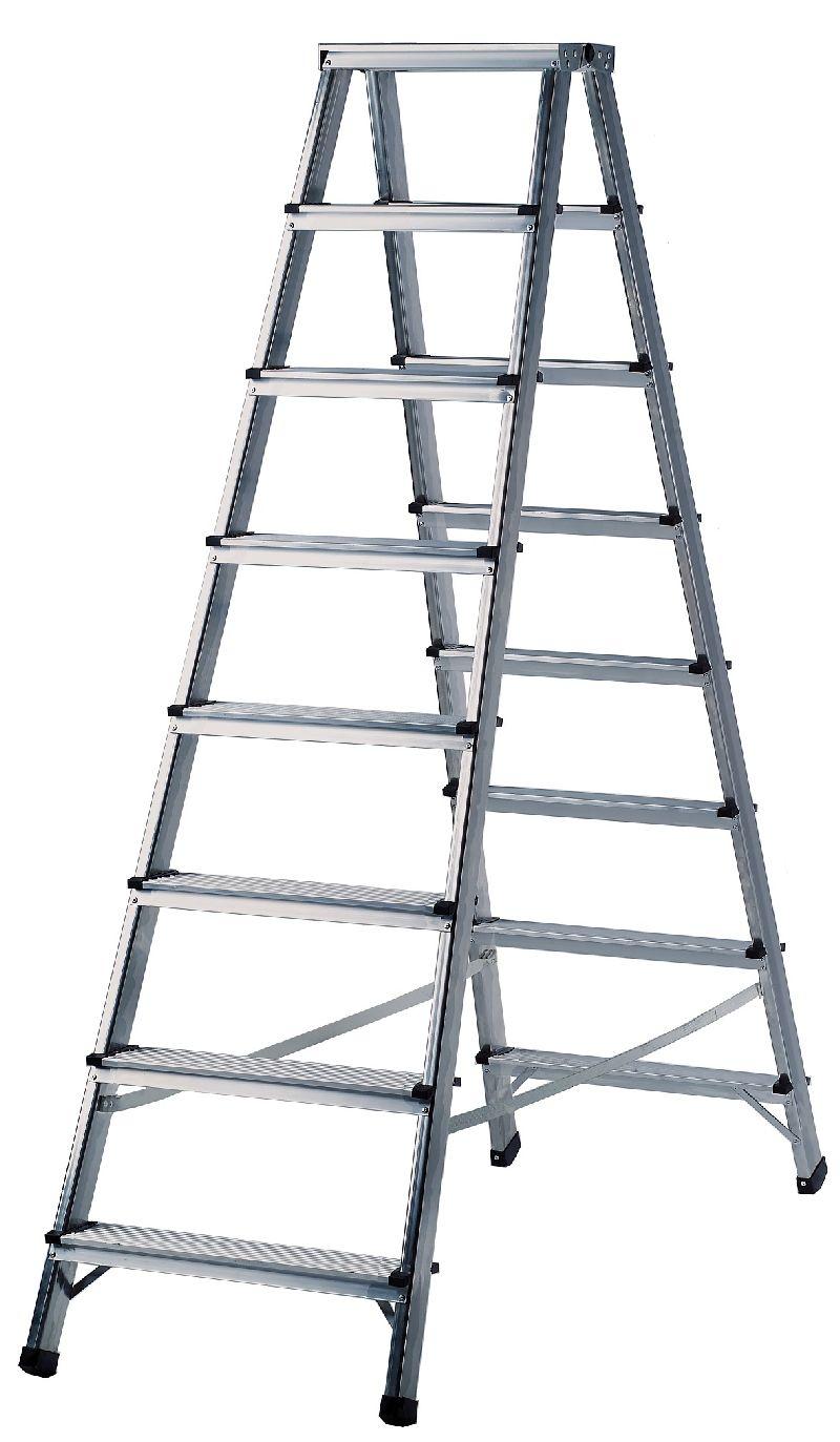 Doppelstufenleiter Aluminium Handwerkerqualität 2x7 Stufen Höhe Stehleiter 1,7m