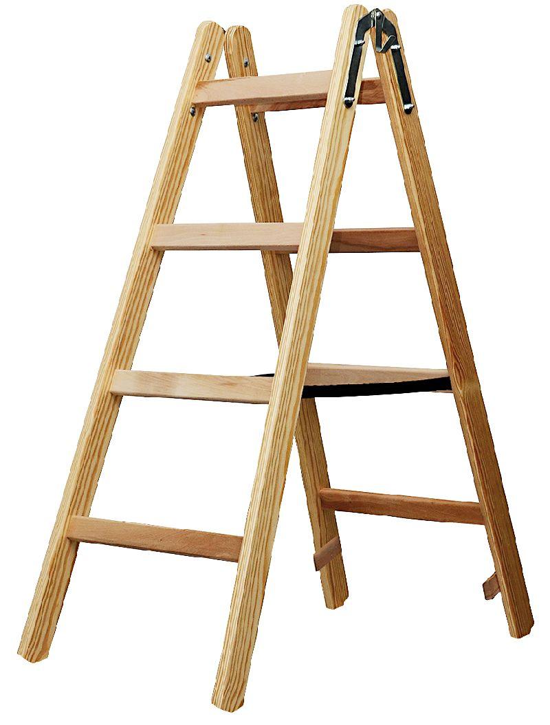 Holz-Stehleiter 2x4 Sprossen H�he Stehleiter 1,2m