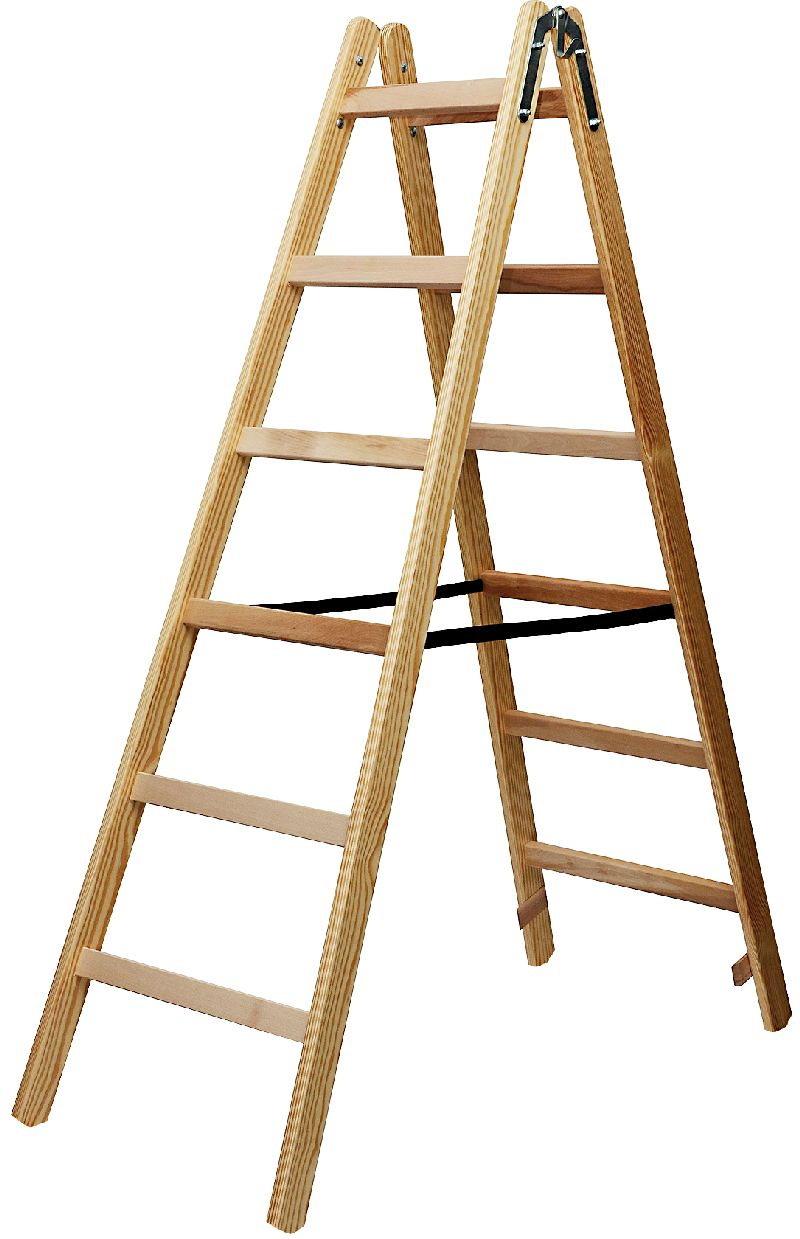 Holz-Stehleiter 2x6 Sprossen H�he Stehleiter 1,58m