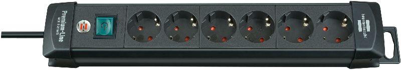 Premium-Line Steckdosenleiste 6-fach schwarz 3m H05VV-F 3G1,5