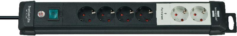 Premium-Line Technik Steckdosenleiste 6-fach schwarz 3m H05VV-F 3G1,5 2 permament, 4 schaltbar