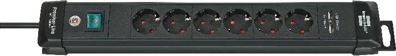 Premium-Line Steckdosenleiste mit USB-Ladefunktion 6-fach schwarz 3m H05VV-F 3G1,5