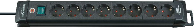 Premium-Line Steckdosenleiste 8-fach schwarz 3m H05VV-F 3G1,5
