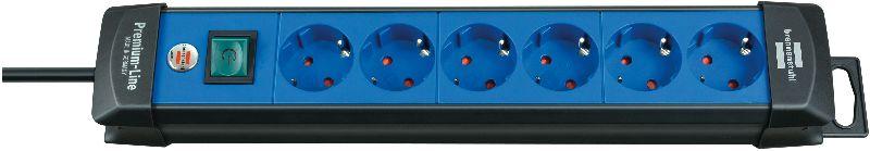 Premium-Line Steckdosenleiste 6-fach schwarz/blau 3m H05VV-F 3G1,5