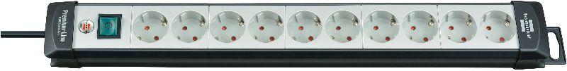 Premium-Line Steckdosenleiste 10-fach schwarz/lichtgrau 3m H05VV-F 3G1,5