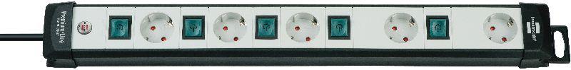 Premium-Line Technik Steckdosenleiste 5-fach schwarz/lichtgrau 3m H05VV-F 3G1,5 einzeln schaltbar spezielle Steckdosenanordnung für Netzgeräte