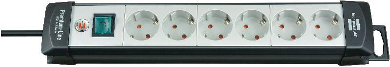 Premium-Line Steckdosenleiste 6-fach schwarz/lichtgrau 3m H05VV-F 3G1,5