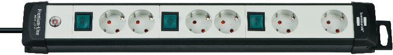 Premium-Line Technik Steckdosenleiste 6-fach schwarz/lichtgrau 3m H05VV-F 3G1,5 2-fach schaltbar spezielle Steckdosenanordnung für Netzgeräte