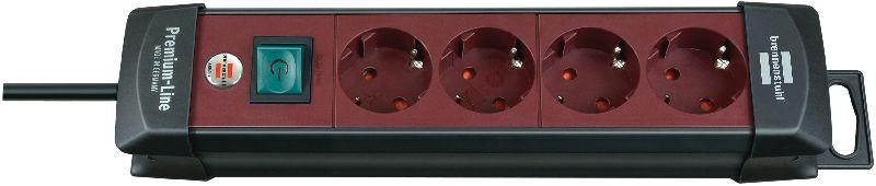 Premium-Line Steckdosenleiste 4-fach schwarz/bordeaux 1,8m H05VV-F 3G1,5