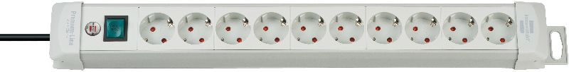 Premium-Line Steckdosenleiste 10-fach lichtgrau 3m H05VV-F 3G1,5